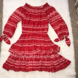 Red and white off the shoulder dress